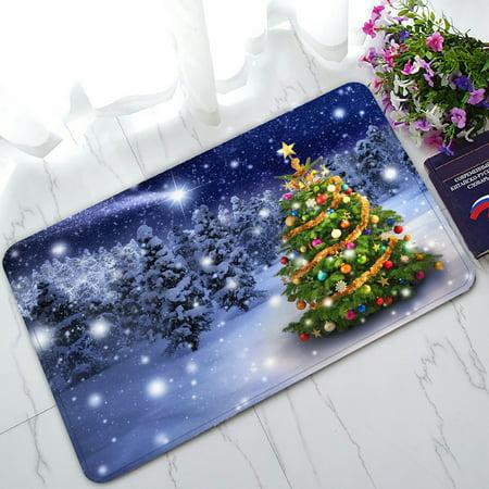 PHFZK Snow Tree Scenery Doormat, Colorful Merry Christmas Tree with Holiday Presents Doormat Outdoors/Indoor Doormat Home Floor Mats Rugs Size 30x18 (Best Doormat For Snow)