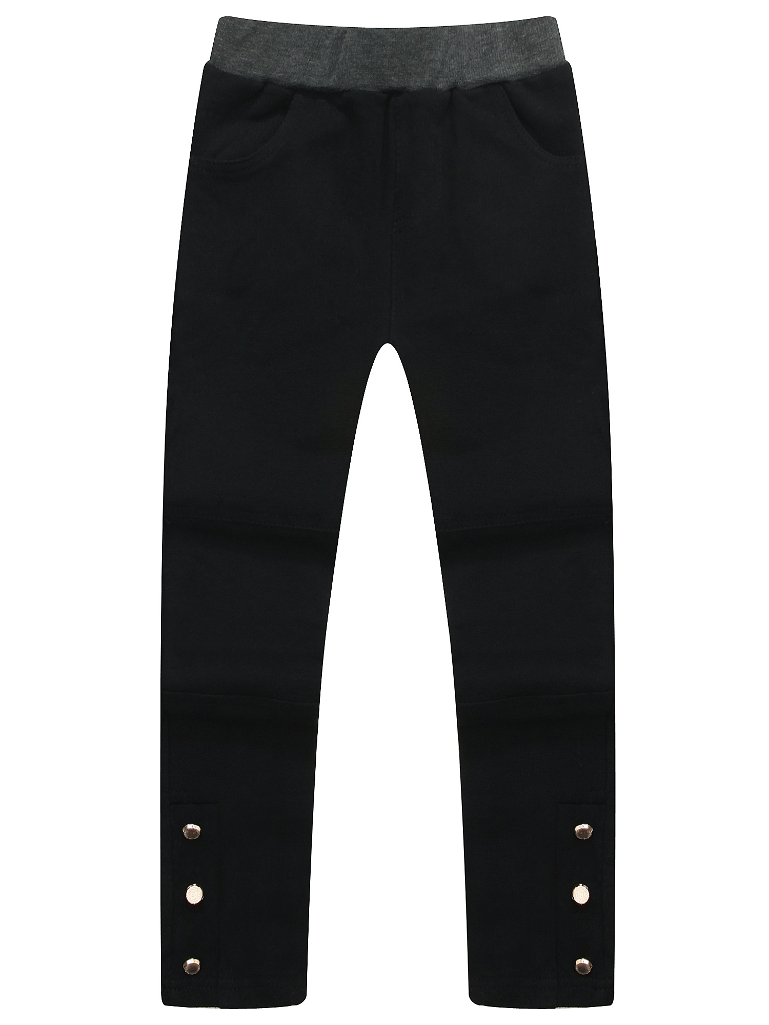 Richie House Girls' Skinny Pants with Buttons at Hem RH1547