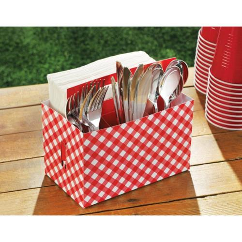 Picnic Party Cardboard Utensil Caddy (Each) - Party Supplies