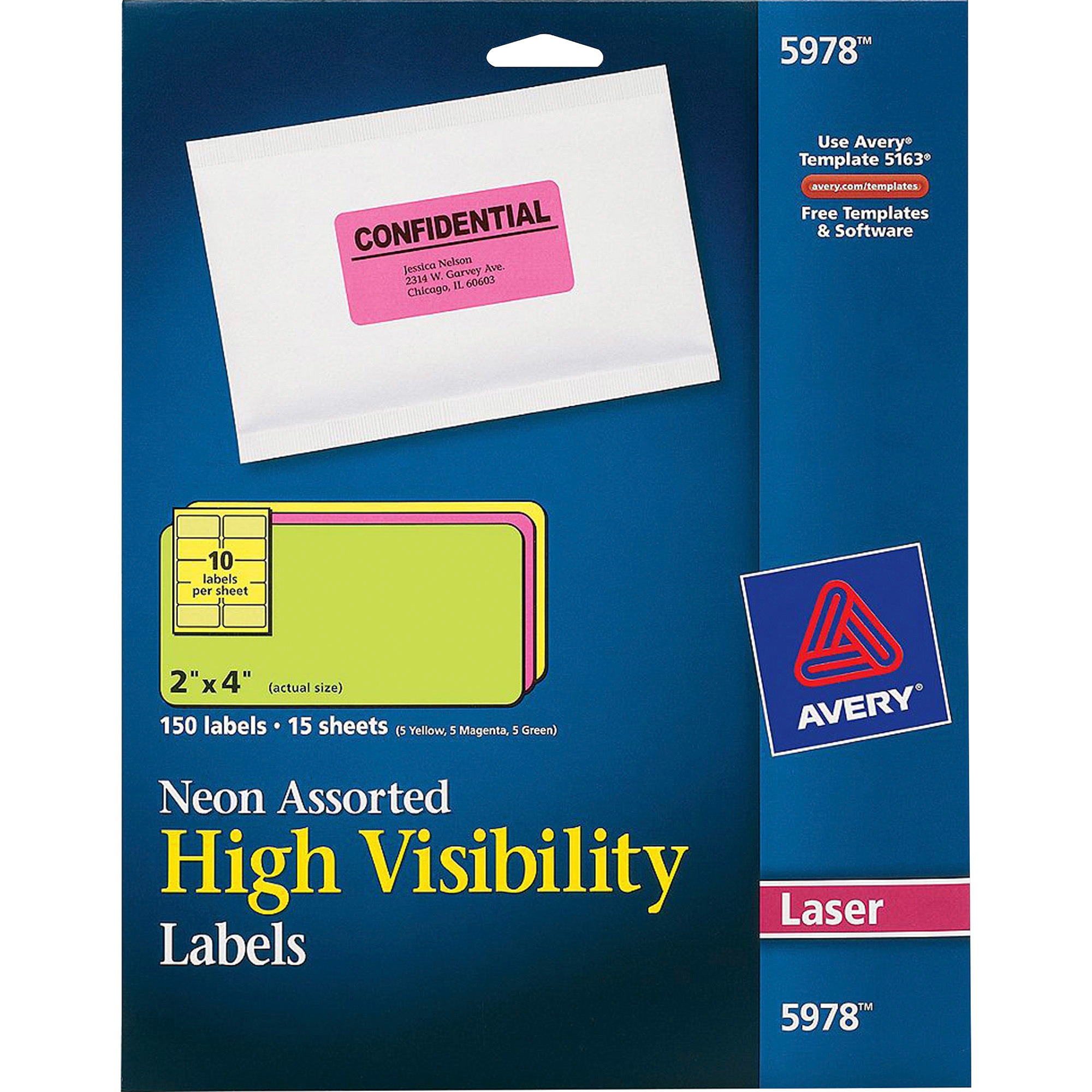 Avery High-Visibility Permanent ID Labels, Laser, 2 x 4, Asst. Neon, 150/Pack
