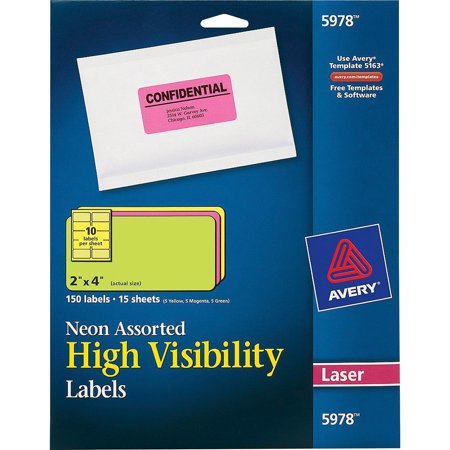 Avery High-Visibility Permanent ID Labels, Laser, 2 x 4, Asst. Neon, 150/Pack Avery Durable Id Labels