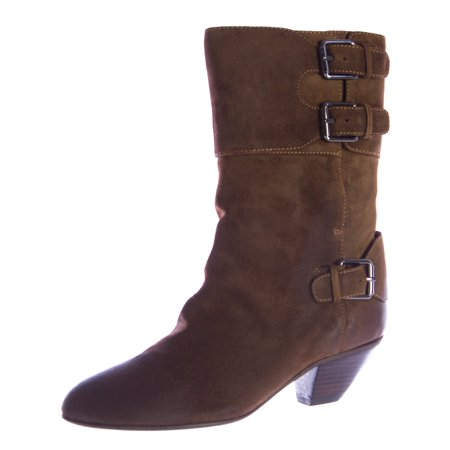Rebecca Minkoff Women's Ranger Mid-Calf Suede Buckle Boots 7 (Womens Praline)