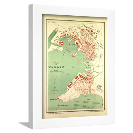 Map of Toulon France Framed Print Wall Art