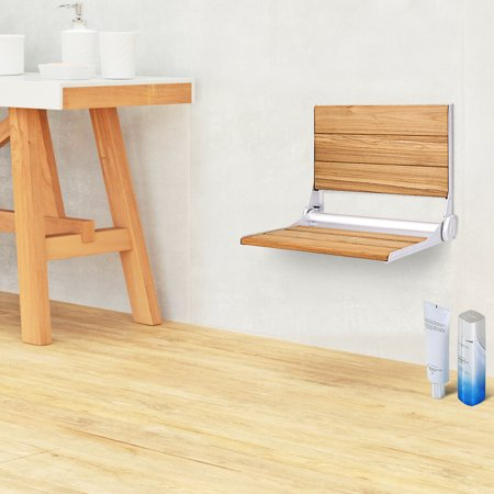 Gymax Wall Mounted Teak Wooden Folding Shower Bath Seat Medical Bench Bathroom Stool - image 5 de 10