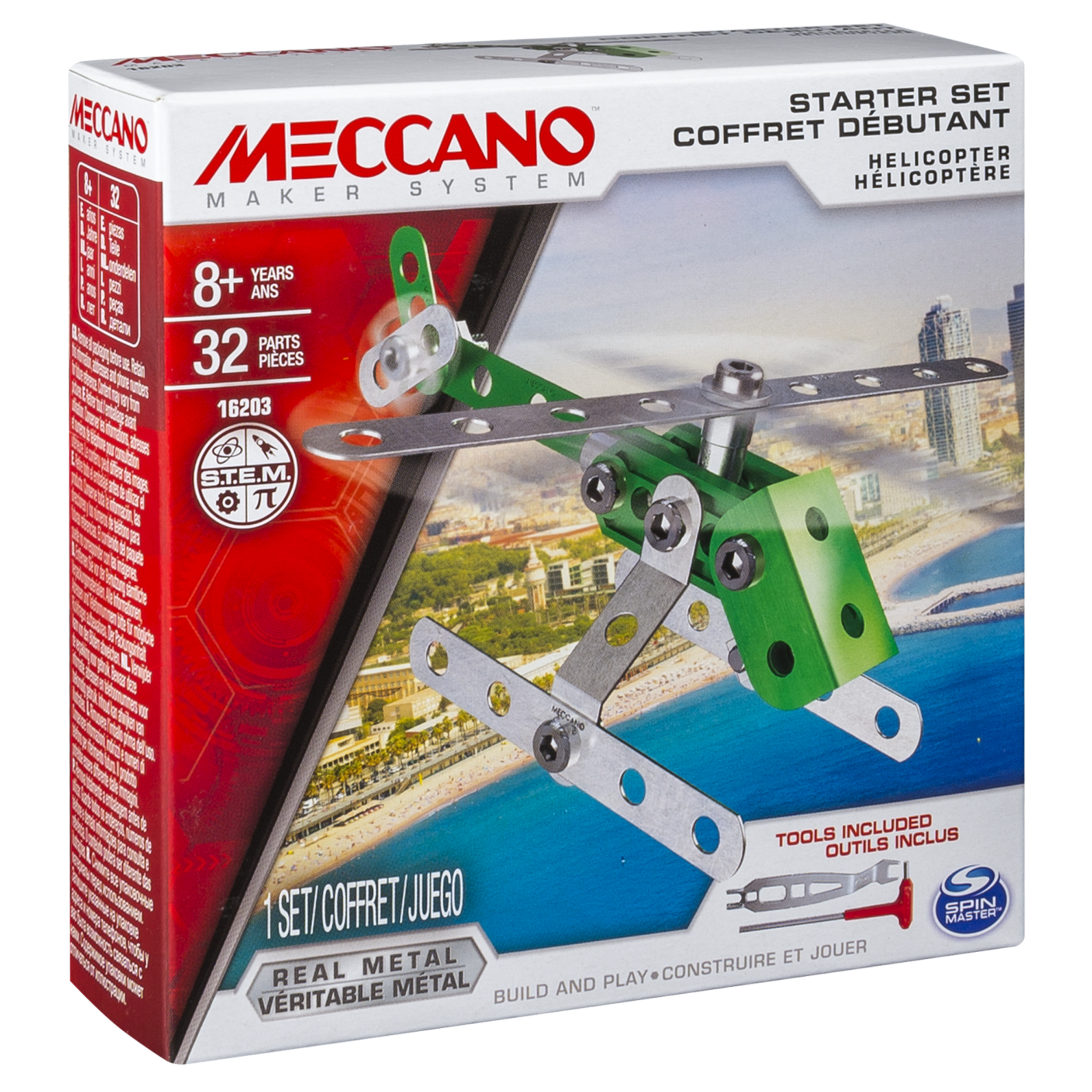 Helicopter Meccano Kids Metal Construction Toy Design Starter Kit NEW