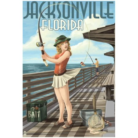 Jacksonville, Florida - Fishing Pinup Girl Poster - 13x19
