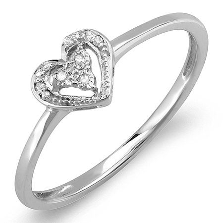 Heart Shaped Diamond Promise Rings (0.06 Carat (ctw) Sterling Silver Round Cut Real Diamond Heart Shaped Promise)