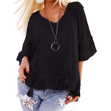 Womens Summer Ruffle Bell Sleeve Tops Blouse Casual Tunic Loose Beach T-Shirt (Ruffle Bottom Tunic)