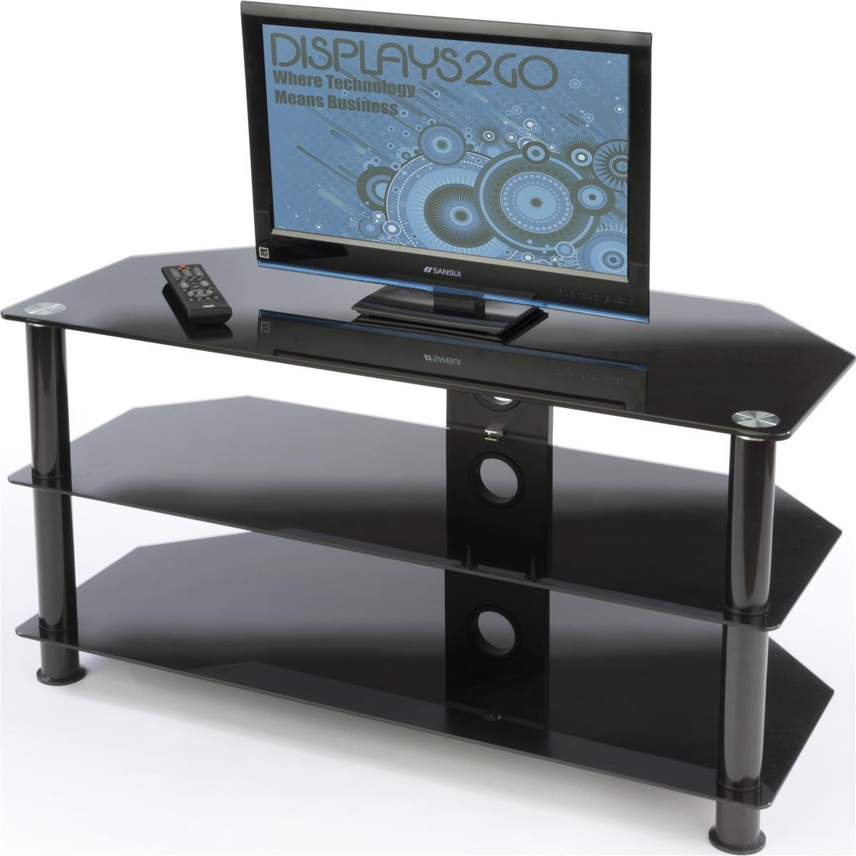 Displays2go PTTV50BLK 42-Inch and 50-Inch HDTV Stand, Entertainment Center and Tempered Glass Shelves (Black)