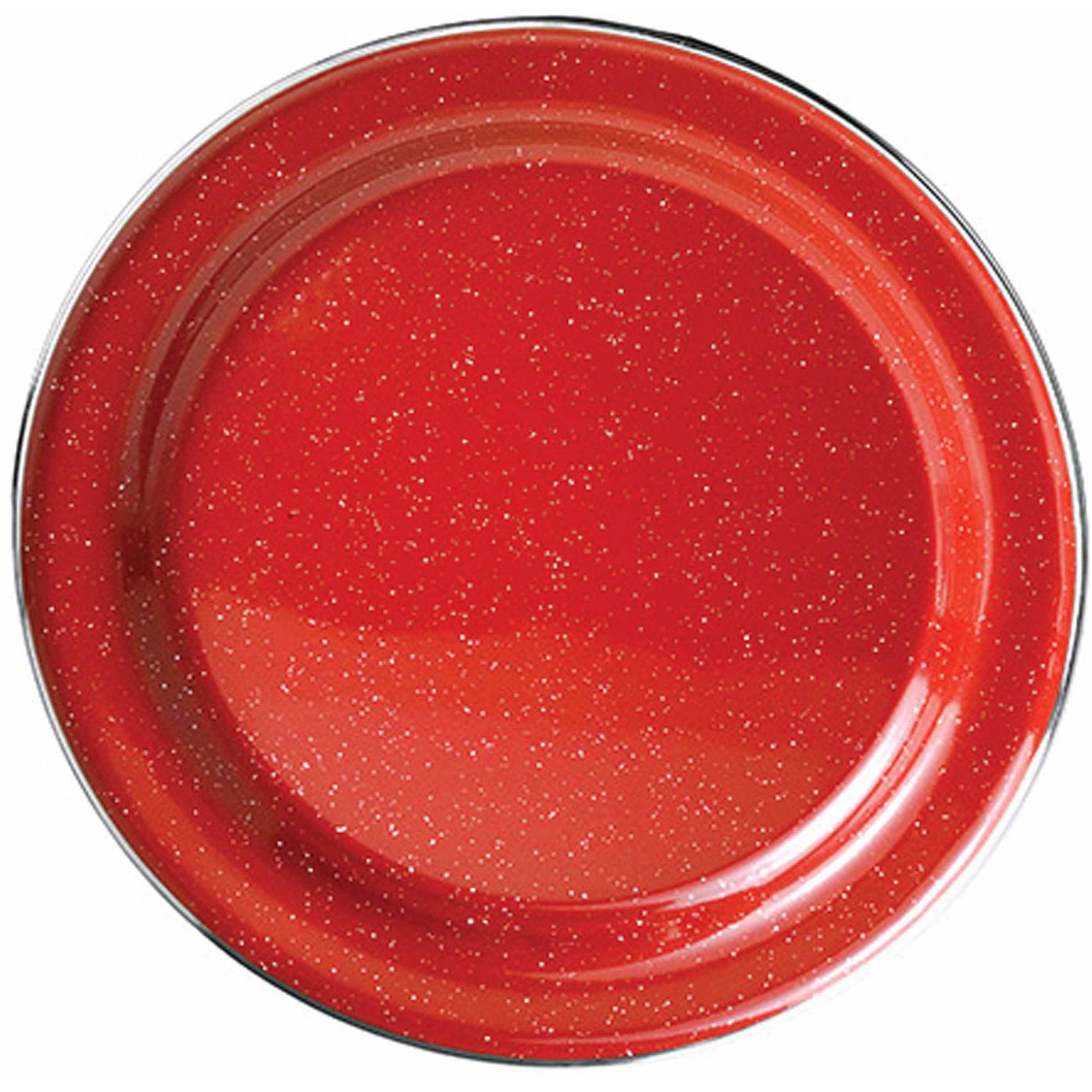 GSI Outdoors Stainless Steel Rim Enamelware Plate, Red