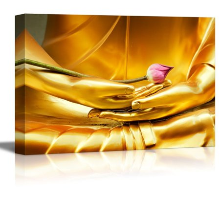 Lotus Flower Buddha (wall26 - Canvas Prints Wall Art - Golden Buddha Statue Holding Unbloomed Lotus Flower | Modern Wall Decor/Home Decoration Stretched Gallery Canvas Wrap Giclee Print. Ready to Hang - 16