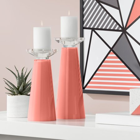 Coral Candles (Color + Plus Meghan Coral Reef Glass Pillar Candle Holders Set of)