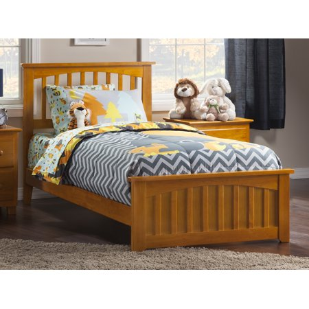 Mission Twin XL Traditional Bed with Matching Foot Board, Multiple Colors