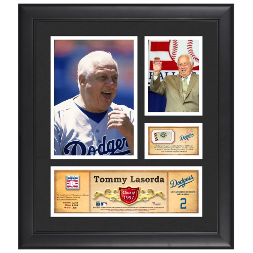 """Tommy Lasorda Los Angeles Dodgers Fanatics Authentic Framed 15"""" x 17"""" HOF Collage with Piece of Game-Used Ball - No Size"""