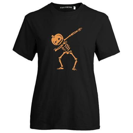 KABOER Pumpkin Human Skeleton Print Funny T Shirts Women Fashion Short Sleeve O Neck Casual Tee Girls Halloween T Shirts Graphic