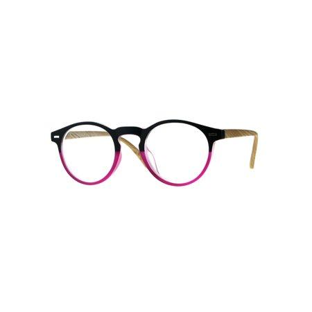 Unisex Round Keyhole Thin Plastic Horn Rim Reading Glasses Pink (Thin Wire Rim Glasses)