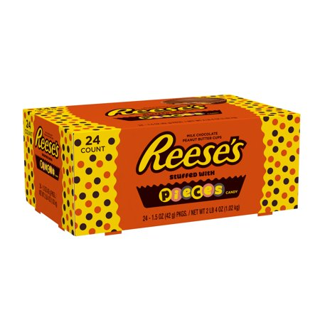 Reese's Peanut Butter Cups with Pieces Chocolate Candy, 1.5 Oz., 24 Count - Reese Pieces Halloween Size