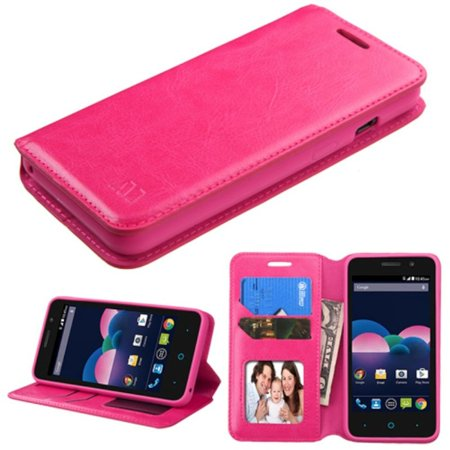 Insten Book-Style Leather Wallet Fabric Case For ZTE Obsidian - Hot Pink (with Stand & Card holder & Photo