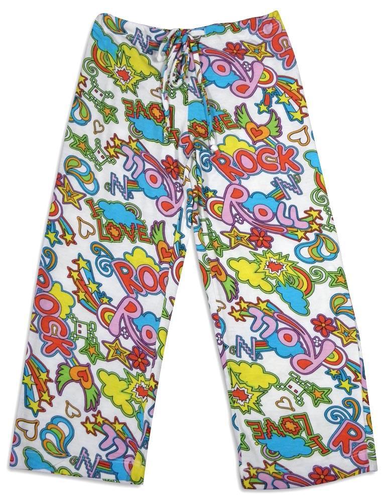 Bee Posh Girls and Ladies / Womens Cozy Knit Pajama Lounge Sleep Pant, 25537 white rock n roll / X-Small