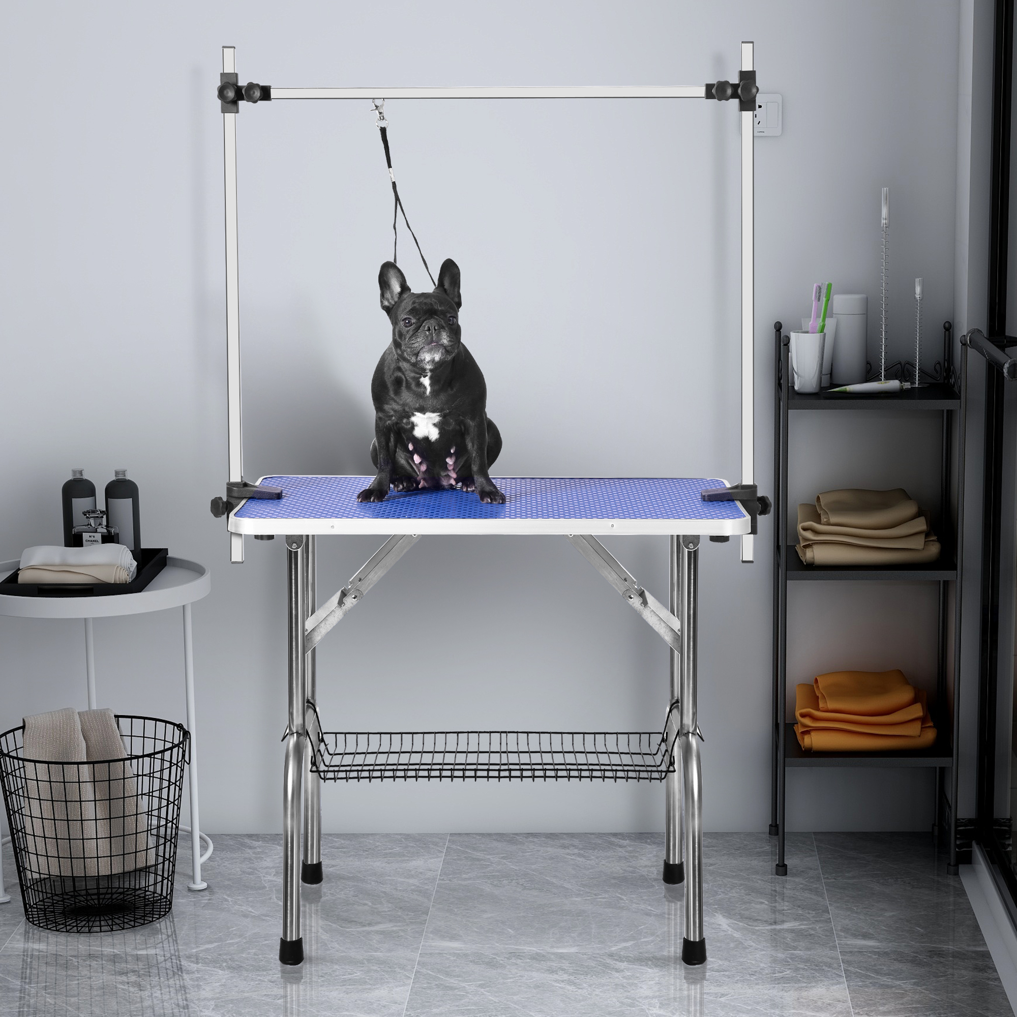 Merax Folding Dog Pet Grooming Table Heavy Duty Stainless Steel Pet Dog Cat Grooming Table
