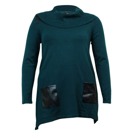 Style & Co. Women's Faux Leather Trim Tunic Sweater