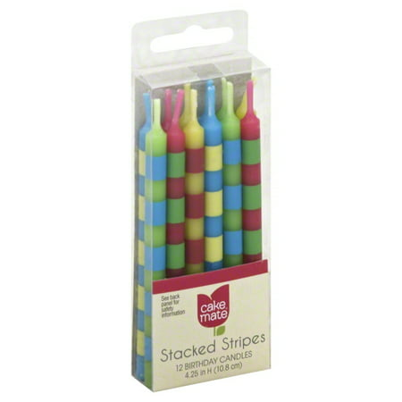 Cake Mate Stacked Striped Candle, 12 ct