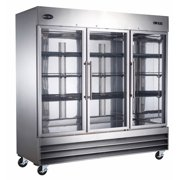 "Heavy Duty Commercial 72"" Stainless Steel Glass Door Reach-In Refrigerator (3 Door) by zz"