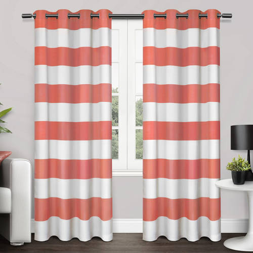 Cotton Modern Curtain - Exclusive Home Surfside Cabana Stripe Cotton Window Curtain Panel Pair with Grommet Top