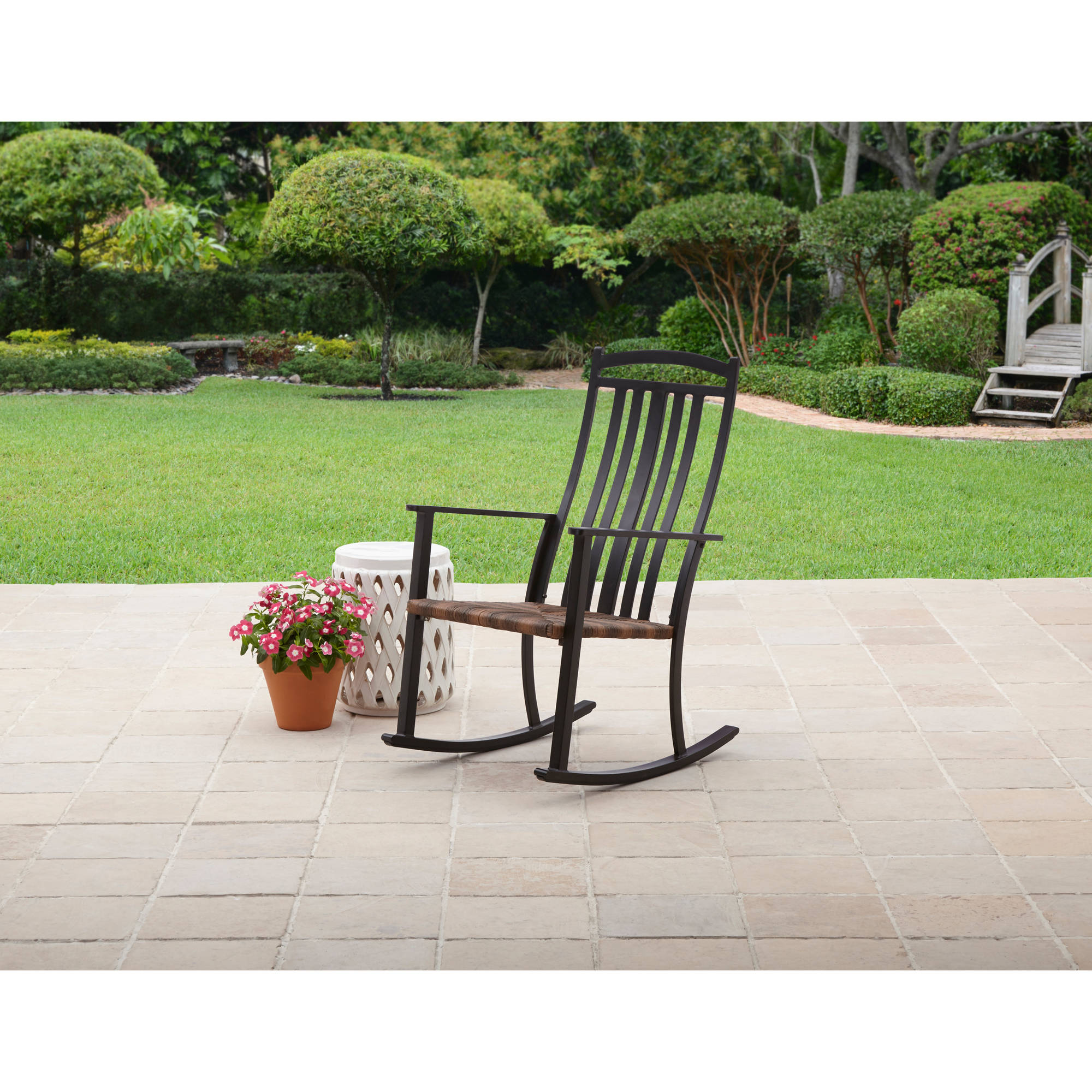 Better Homes and Gardens Belle Drive Steel Wicker Rocking High Back Chair