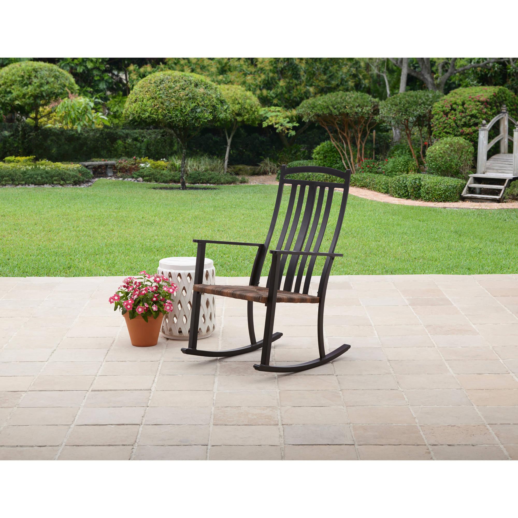 Better Homes & Gardens Belle Drive Outdoor Steel Wicker Rocking High Back Chair