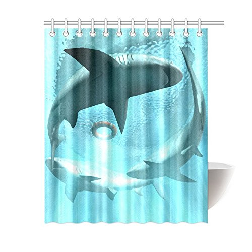 GCKG Funny White Shark Shower Curtain Blue Ocean Polyester Fabric Bathroom Sets With Hooks 60x72 Inches