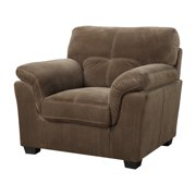 Emerald Home Gunter Mocha Brown Accent Chair with Pillow Top Arms And Contrast Luggage Stitching