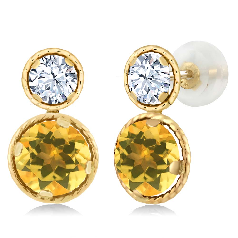 4.10 Ct Round Yellow Citrine 14K Yellow Gold Earrings