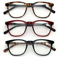 V.W.E. Unisex Plastic Frame Reading Glasses, Black/Tortoise/Maroon, 3 Pair