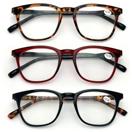3 Pairs Reading Glasses Men or Women Black Tortoise Maroon Reader Spring Hinge