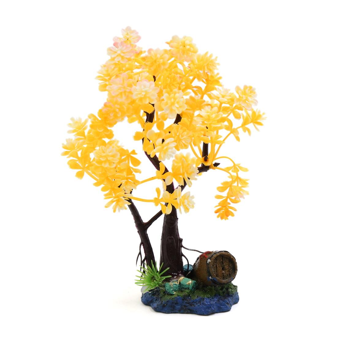 Yellow Plastic Tree Fishbowl Aquarium Decorative Plant Waterscape Decor w/ Stand