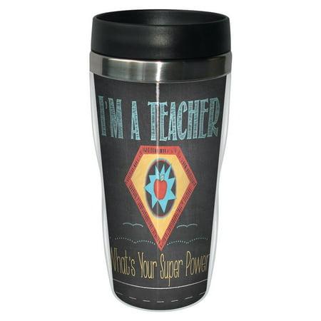 Tree Free Greetings 78217 Jo Moulton Teacher Super Power Travel Mug  Stainless Lined Coffee Tumbler  16 Ounce   Gift For Teacher Appreciation Week