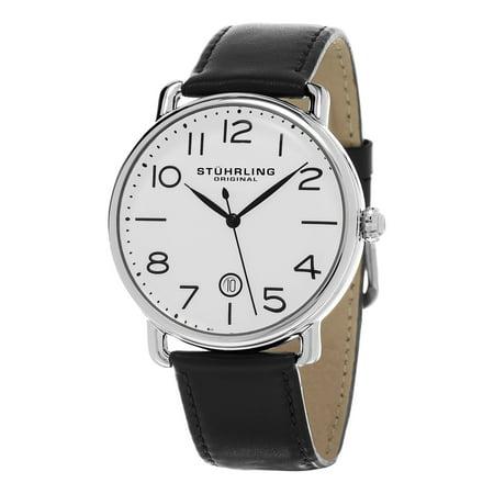 Stuhrling Original  Mens Symphony Swiss Quartz Black Leather Strap Watch