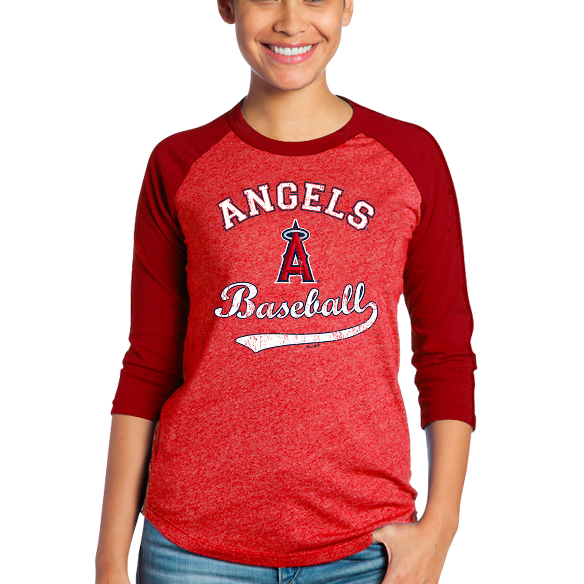 Los Angeles Angels Majestic Threads Women's Team Baseball Three-Quarter Raglan Sleeve Tri-Blend T-Shirt - Red