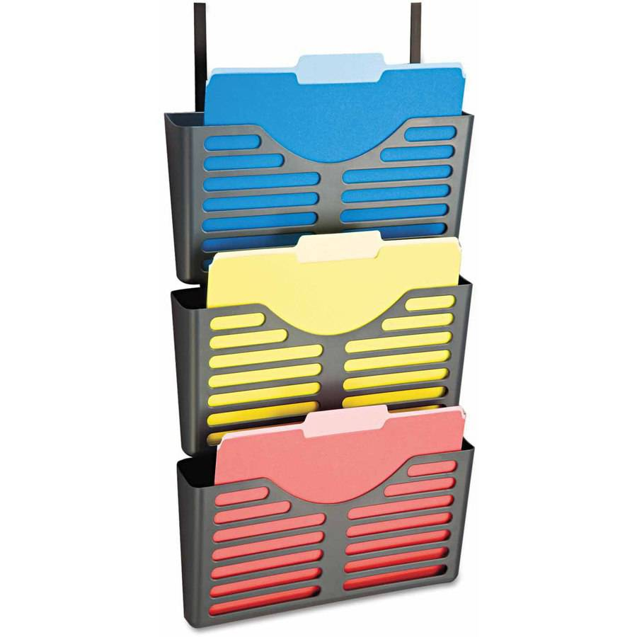 "Officemate Filing System with Hanger Set, 3 Pockets, Letter, 28"" x 13-1/2"" x 4-3/4"", Charcoal"