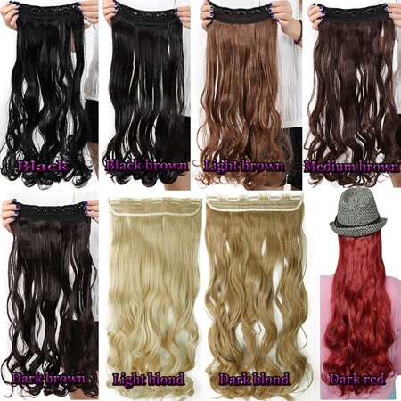 Real Thick FLORATA Women Girls Long Curly Full Head Clip in Synthetic Hair Extentions 8 Piece/Set 18 Clips 17