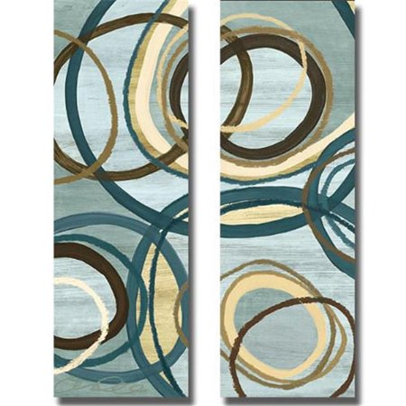 Tuesday Blue Panel I & II by Jeni Lee Premium Gallery-Wrapped Canvas Giclee Art Set - Ready-to-Hang, 14 x 42 x 1.5 in. - image 1 de 1
