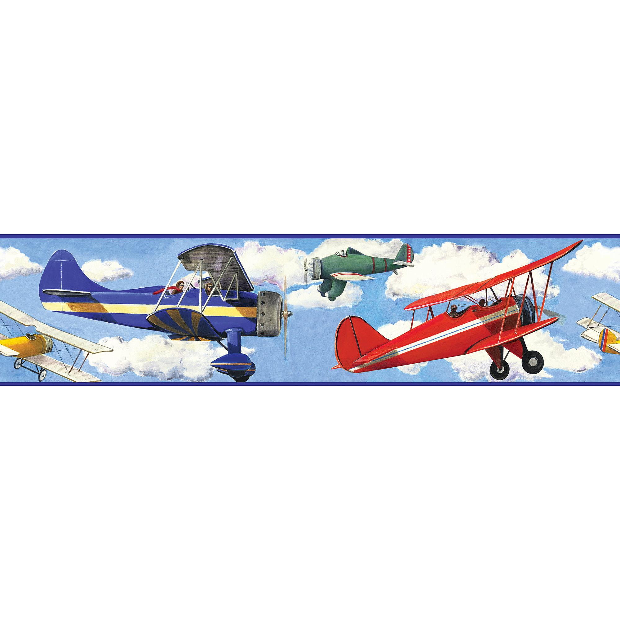 RoomMates Vintage Planes Peel and Stick Border