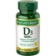 2 Pack - Nature's Bounty Vitamin D-5000 IU Softgels, Maximum Strength 150 ea