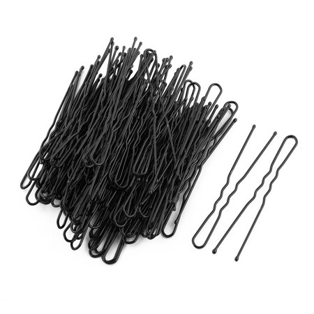 Women Metal Waved U Shape Hairstyle Hair Clip Bobby Pin Black 6cm Length