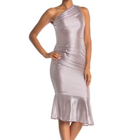 RACHEL Roy Silver Womens One Shoulder Metallic Sheath Dress
