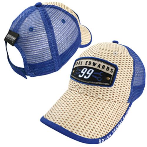 Chase Authentics Carl Edwards Cool Breeze Straw Adjustable Hat - Natural/Royal Blue - OSFA