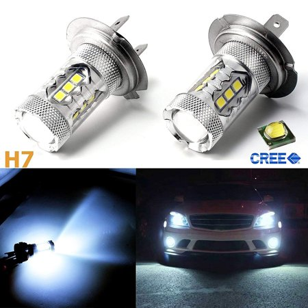 1Pair 80W LED Ice Blue Super Bright H7 8000K 2828 LED Bulb Compatible for Low Beam Headlight DRL - image 5 of 7