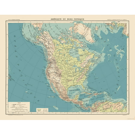 Physical Map North America - Schrader 1908 - 29.49 x 23 - Walmart.com