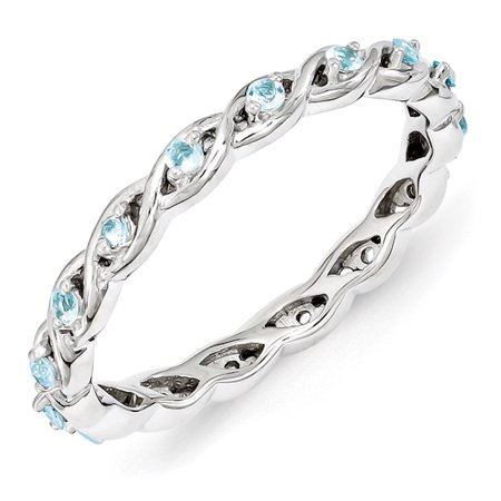 2.5mm Sterling Silver Stackable Expressions Blue Topaz Ring - Ring Size: 5 to 10 (Blue Topaz Ring Size 10)